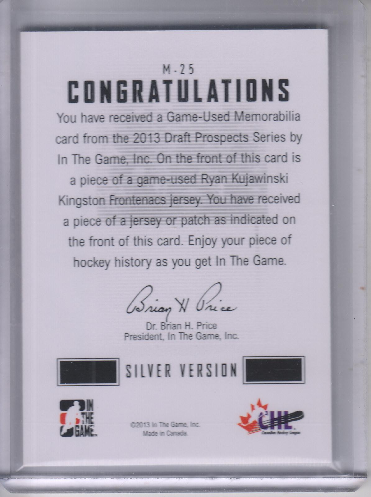 2012-13 ITG Draft Prospects Jerseys #M25 Ryan Kujawinski back image