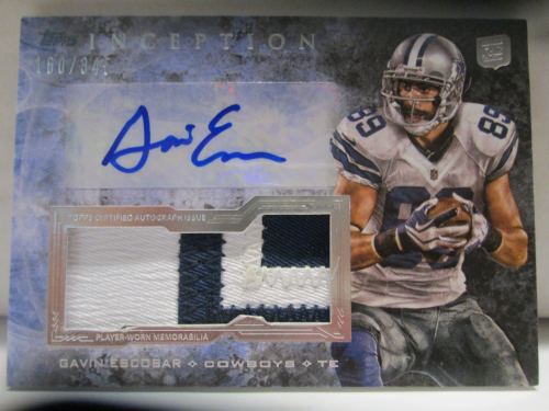 2013 Topps Inception Rookie Jumbo Patch Autographs #IAJPGE Gavin Escobar/345