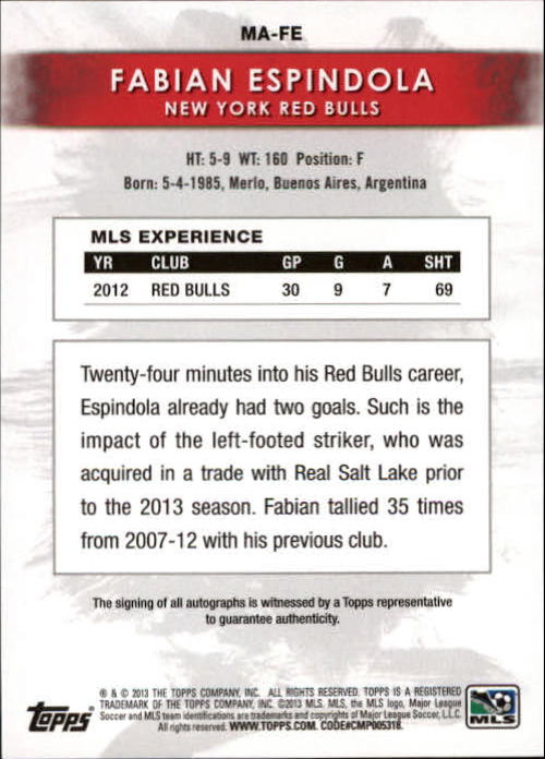 2013 Topps MLS Maestros Autographs #FE Fabian Espindola back image