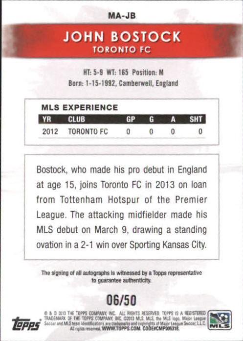 2013 Topps MLS Maestros Autographs #JB John Bostock back image