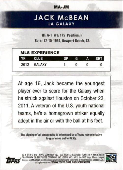 2013 Topps MLS Maestros Autographs #JM Jack McBean back image