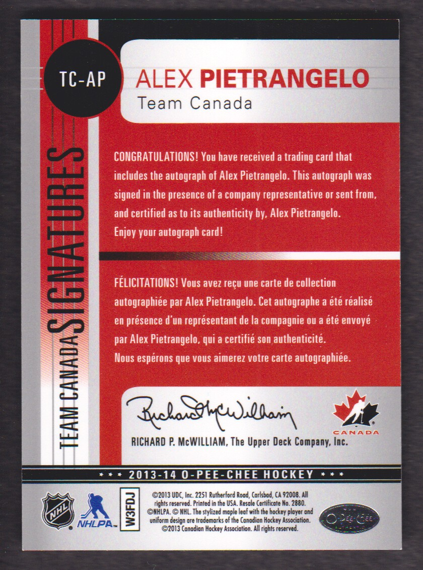 2013-14 O-Pee-Chee Team Canada Signatures #TCAP Alex Pietrangelo B back image