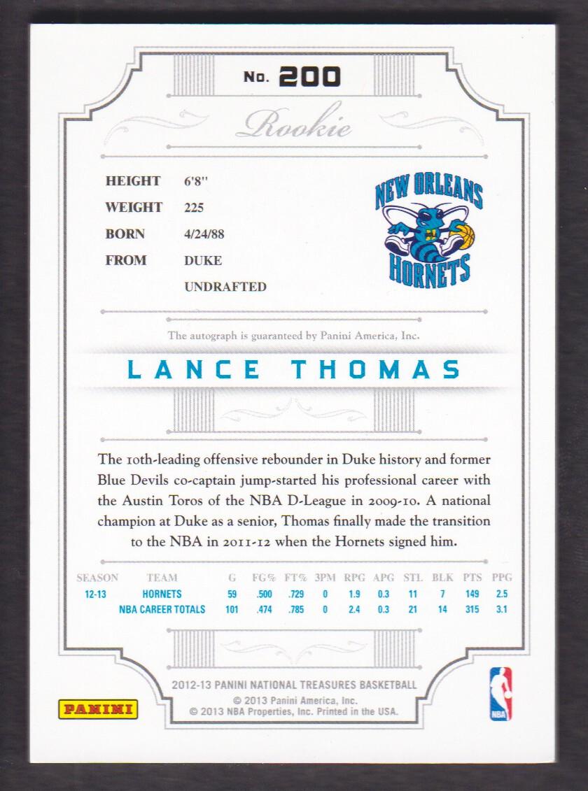 2012-13 Panini National Treasures #200 Lance Thomas AU/99 RC back image