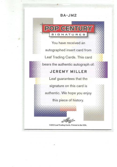 2013 Pop Century #BAJM2 Jeremy Miller back image