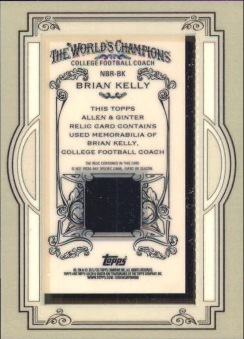 2013 Topps Allen and Ginter Framed Mini Relics #BK Brian Kelly back image