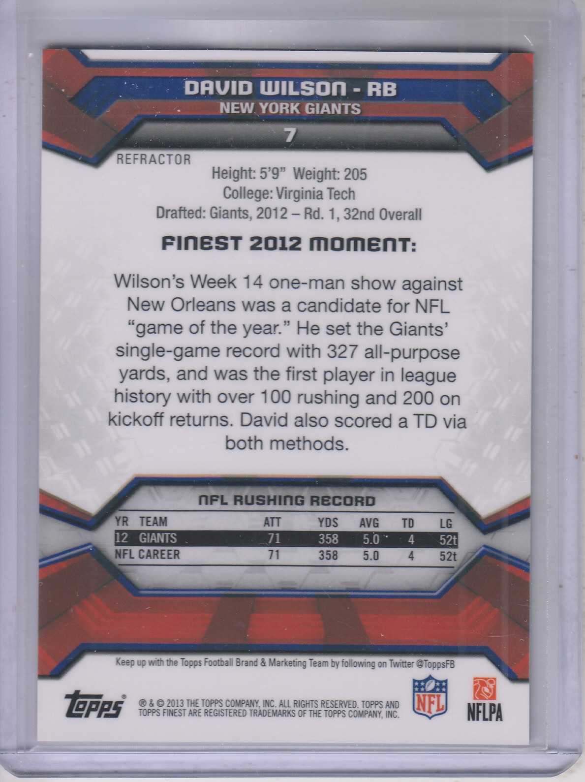2013 Finest Blue Refractors #7 David Wilson back image