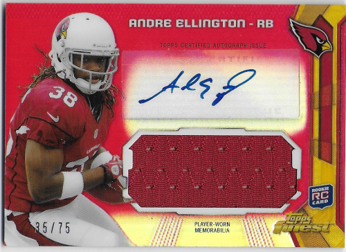 2013 Finest Jumbo Jersey Autographs Red Refractors #AJRAE Andre Ellington