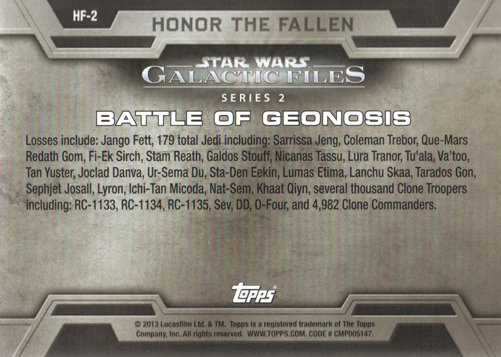 Star Wars 2013 Galactic Files 2 Honor the Fallen HF-8 Battle of Hoth
