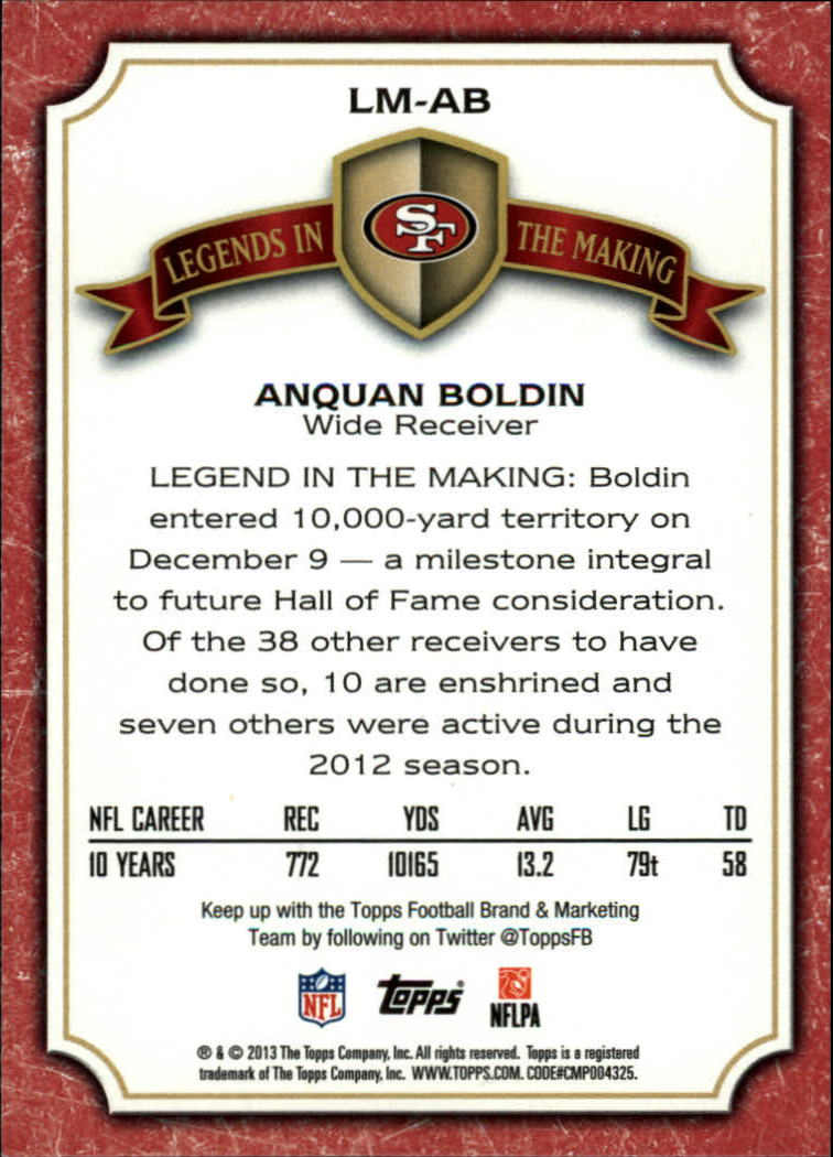 2013 Topps Legends In The Making #LMAB Anquan Boldin back image