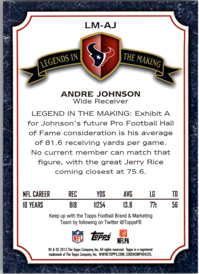 2013 Topps Legends In The Making #LMAJ Andre Johnson back image