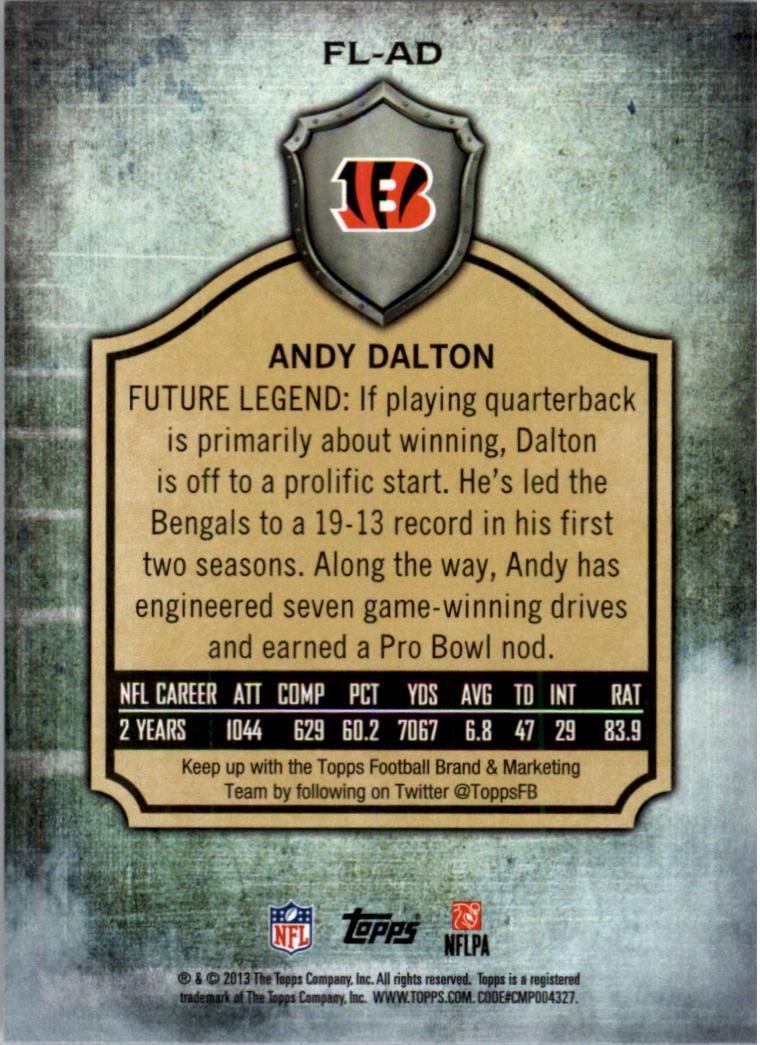 2013 Topps Future Legends #FLAD Andy Dalton back image