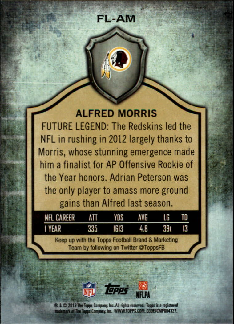 2013 Topps Future Legends #FLAM Alfred Morris back image