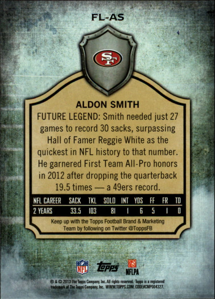 2013 Topps Future Legends #FLAS Aldon Smith back image