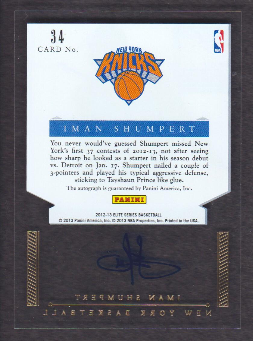 2012-13 Elite Series Rookie Inscriptions Autographs #34 Iman Shumpert EXCH back image
