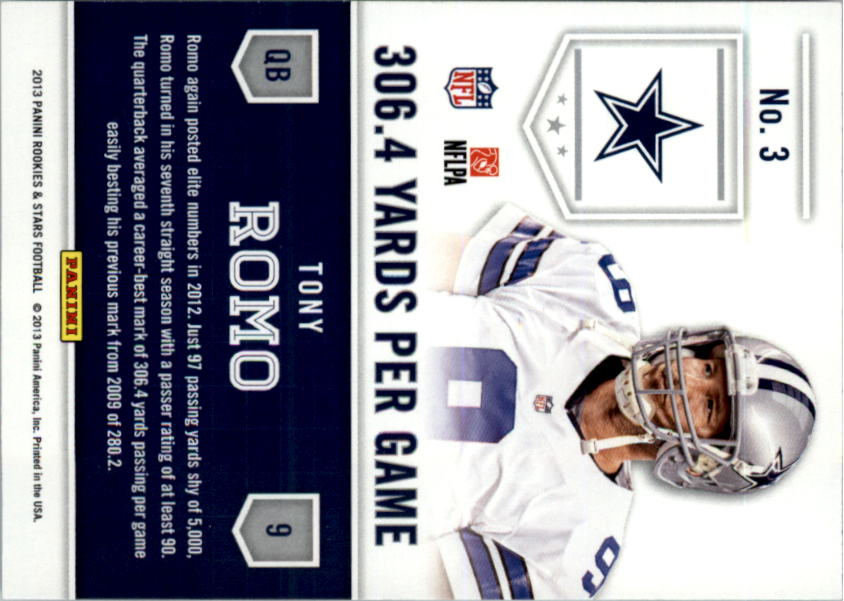 2013 Rookies and Stars Statistical Standouts #3 Tony Romo back image