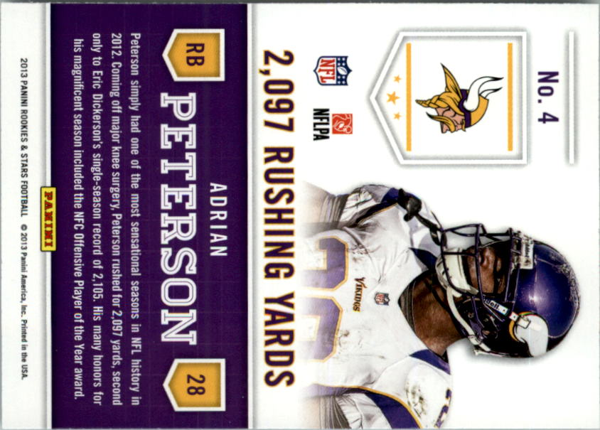 2013 Rookies and Stars Statistical Standouts #4 Adrian Peterson back image