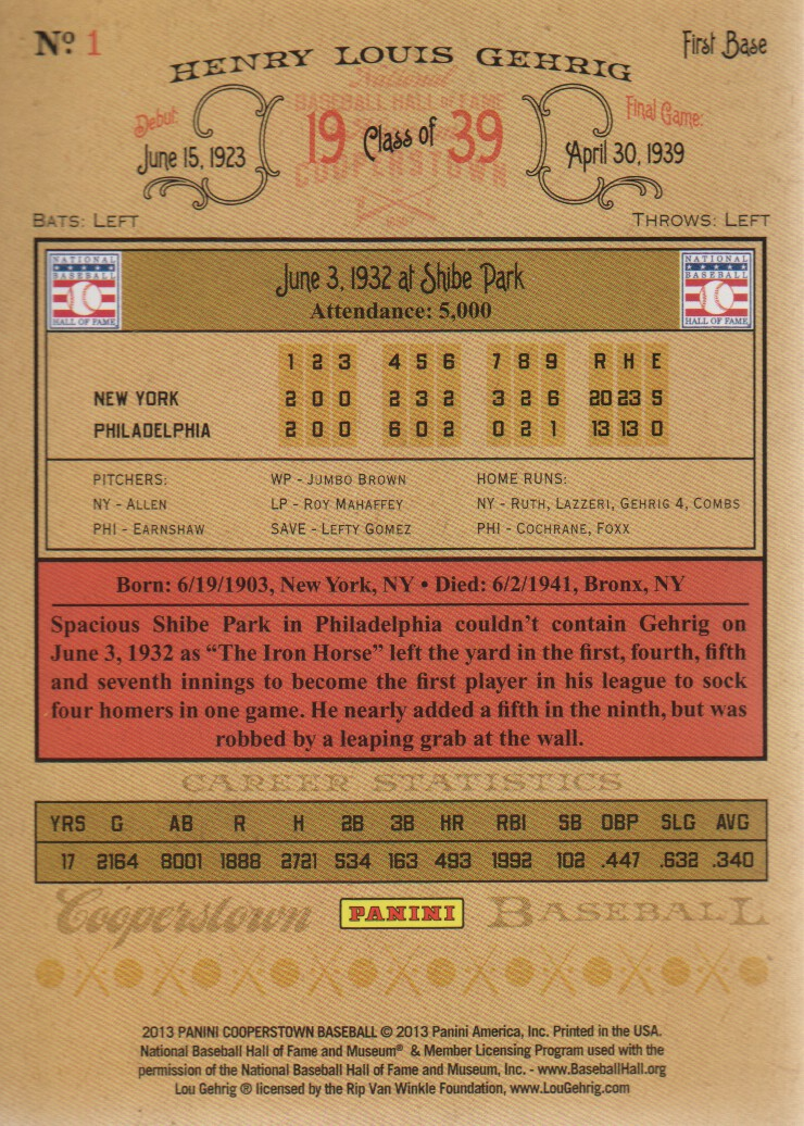 2013 Panini Cooperstown #1 Lou Gehrig back image