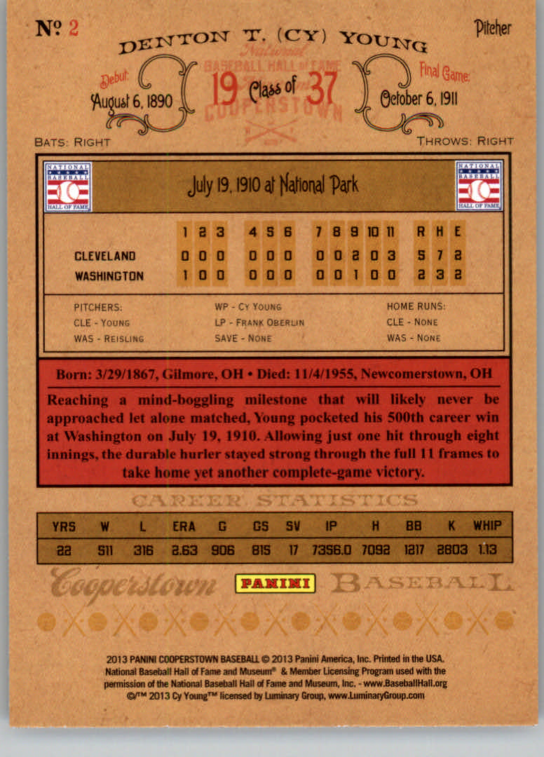 2013 Panini Cooperstown #2 Cy Young back image