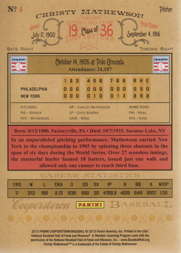 2013 Panini Cooperstown #4 Christy Mathewson back image