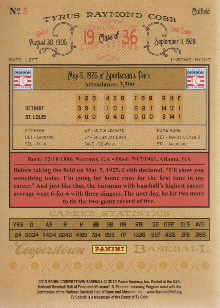 2013 Panini Cooperstown #5 Ty Cobb back image