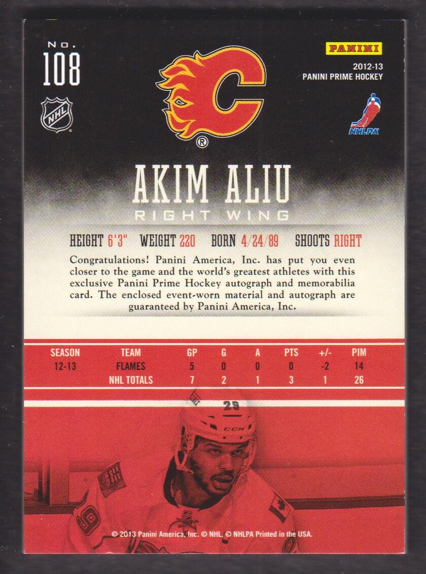 2012-13 Panini Prime Holosilver #108 Akim Aliu JSY AU back image