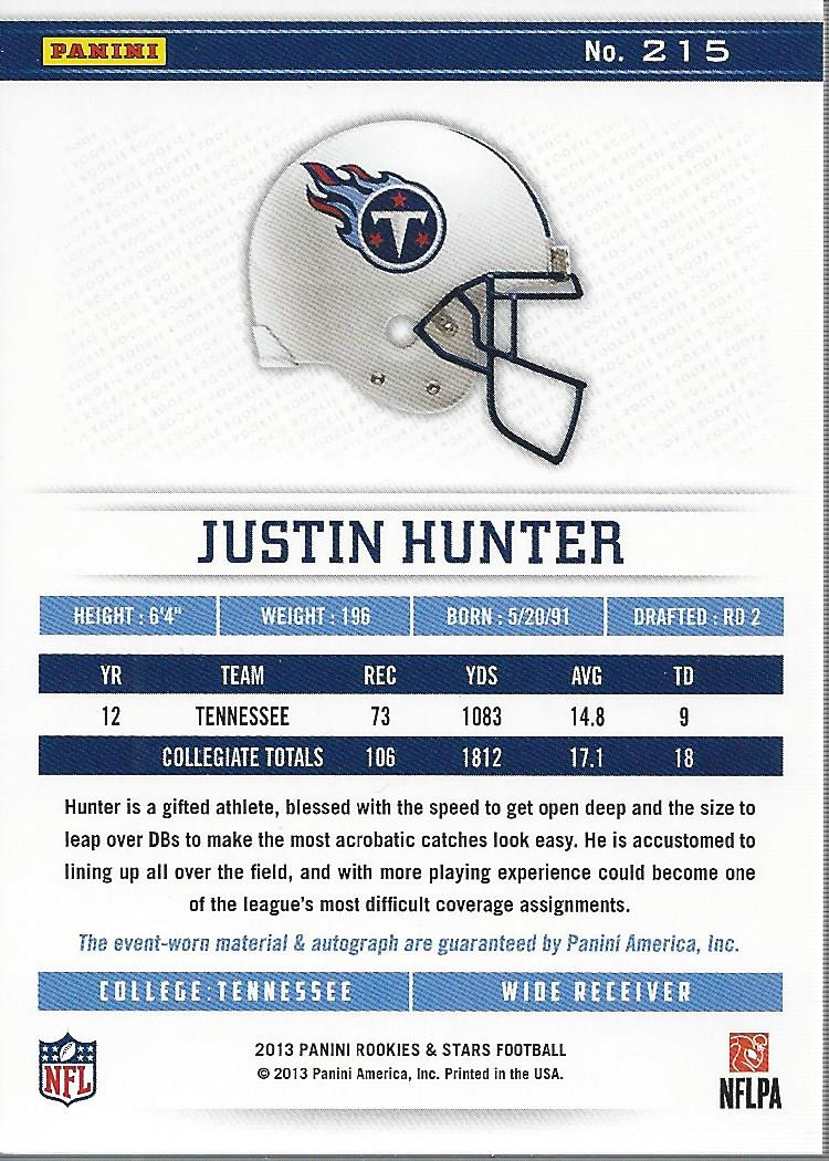 2013 Rookies and Stars Rookie Jersey Autographs Longevity Gold #215 Justin Hunter back image