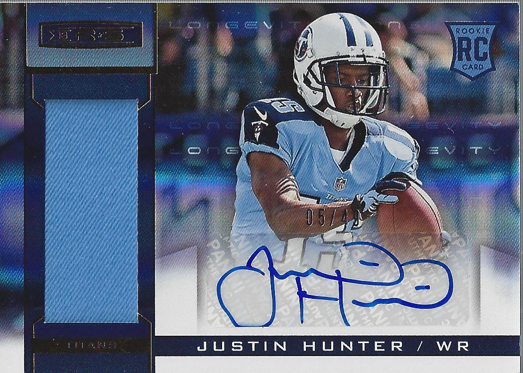 2013 Rookies and Stars Rookie Jersey Autographs Longevity Gold #215 Justin Hunter
