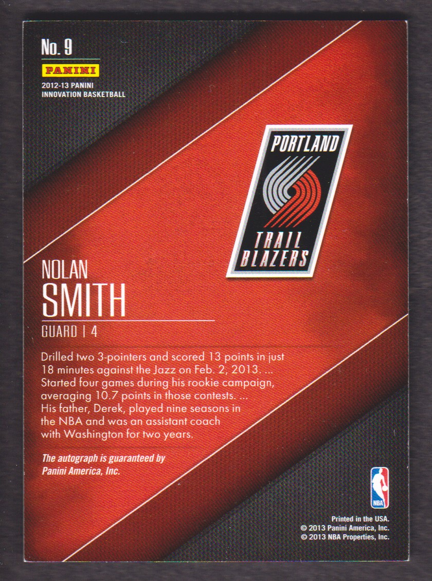 2012-13 Innovation Rookie Autographs #9 Nolan Smith back image