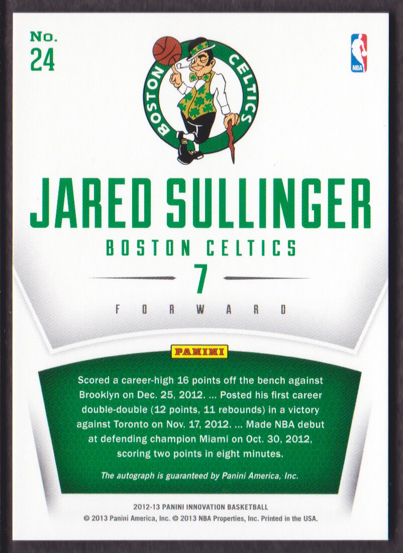 2012-13 Innovation Rookie Innovative Ink #24 Jared Sullinger back image