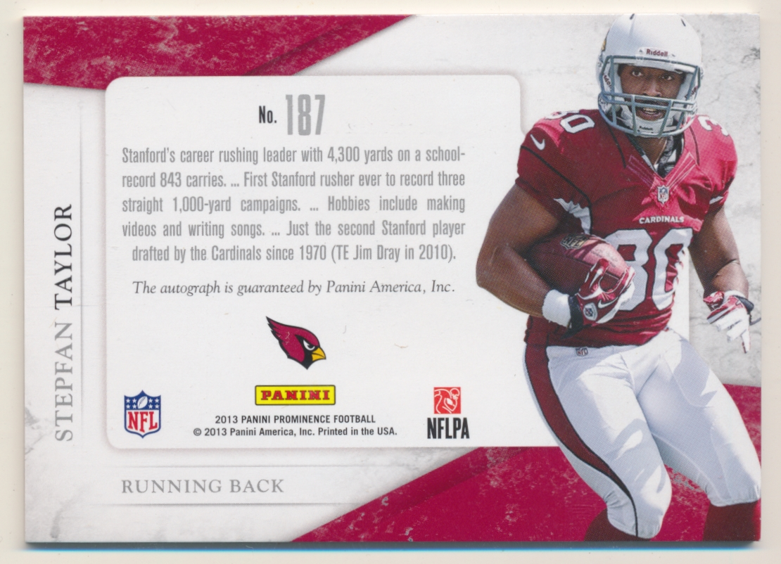 2013 Panini Prominence Rookie Rated Rookie Patch Autographs #187 Stepfan Taylor/102 back image