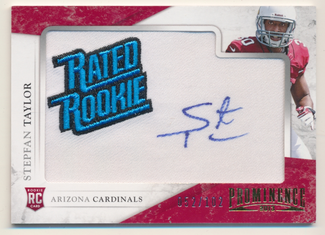 2013 Panini Prominence Rookie Rated Rookie Patch Autographs #187 Stepfan Taylor/102
