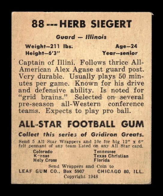 1948 Leaf #88B Herb Siegert DYP RC/(dark yellow pants) back image