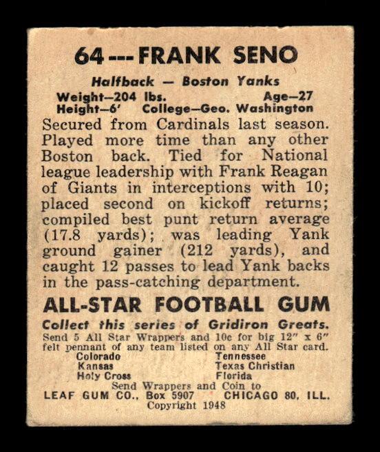 1948 Leaf #64B Frank Seno GN RC/(Green numbers) back image