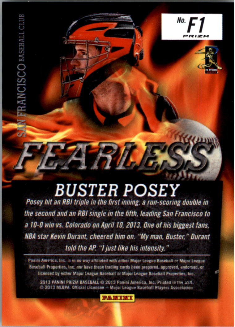 2013 Panini Prizm Fearless Prizms #1 Buster Posey back image