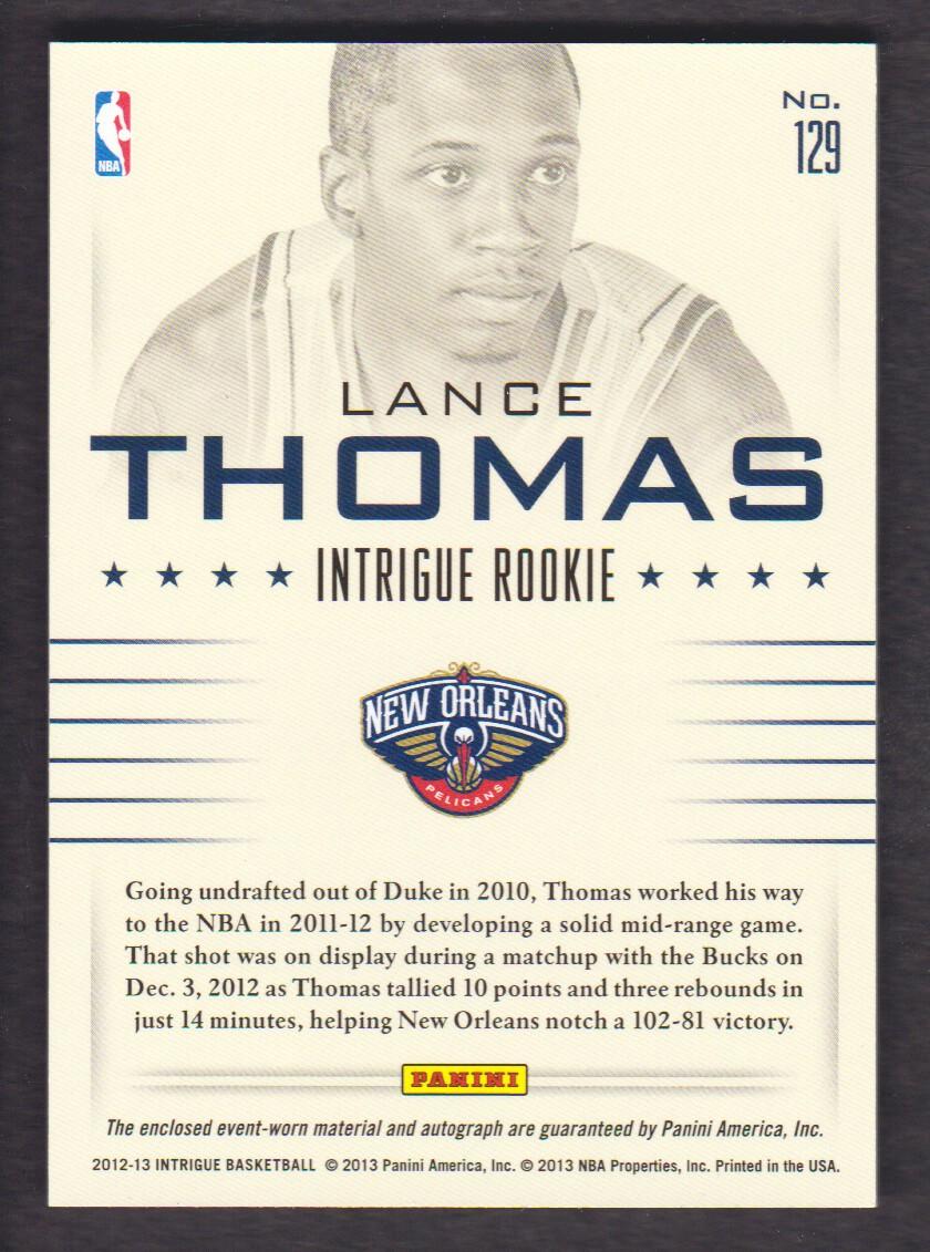 2012-13 Panini Intrigue #129 Lance Thomas JSY AU RC back image