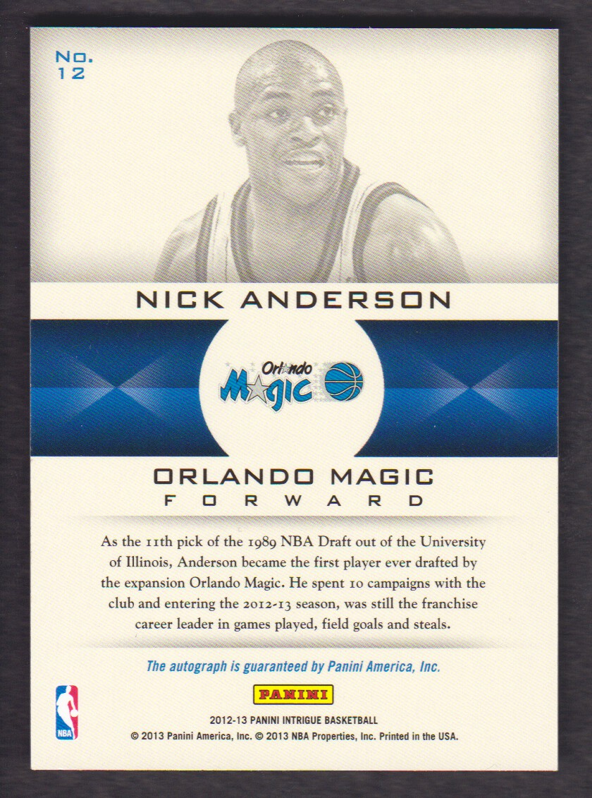 2012-13 Panini Intrigue Immortalized Autographs #12 Nick Anderson/199 back image