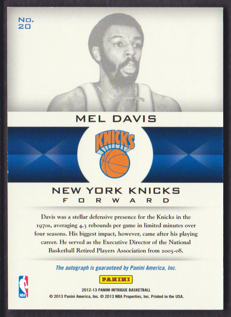2012-13 Panini Intrigue Immortalized Autographs #20 Mel Davis/299 back image