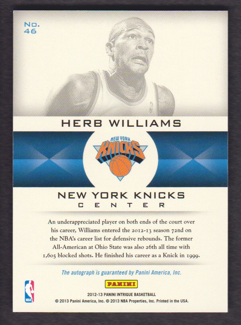 2012-13 Panini Intrigue Immortalized Autographs #46 Herb Williams/299 back image