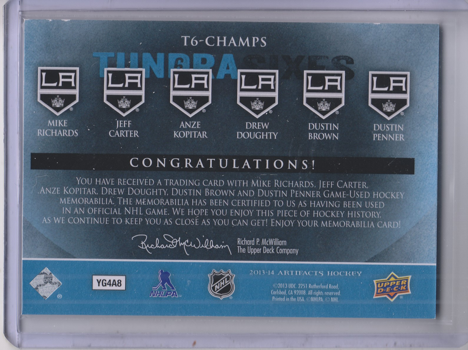 2013-14 Artifacts Tundra Sixes Jerseys Blue #T6CHAMPS Mike Richards/Jeff Carter/Anze Kopitar/Drew Doughty/Dustin Penner/Dustin Brown back image