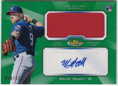2013 Finest Rookie Jumbo Relic Autographs Green Refractors #MO2 Mike Olt