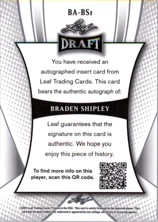 2013 Leaf Metal Draft #BS1 Braden Shipley back image