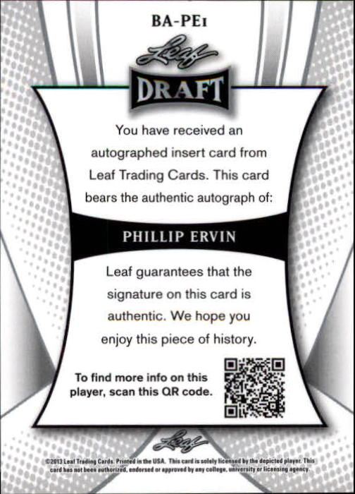 2013 Leaf Metal Draft #PE1 Phillip Ervin back image