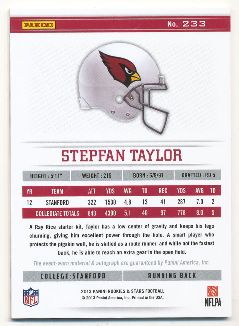 2013 Rookies and Stars Rookie Jersey Autographs Longevity #233 Stepfan Taylor back image