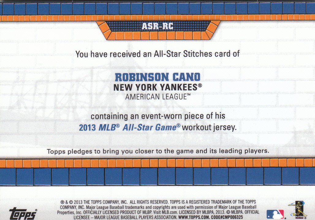 2013 Topps Update All Star Stitches #RC Robinson Cano back image