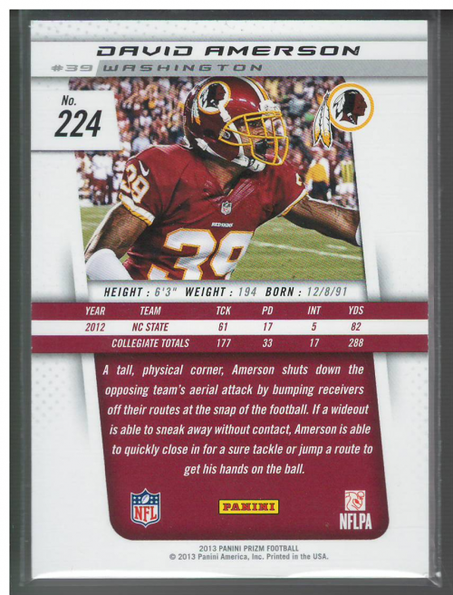 2013 Panini Prizm Rated Rookie Patches #224 David Amerson back image