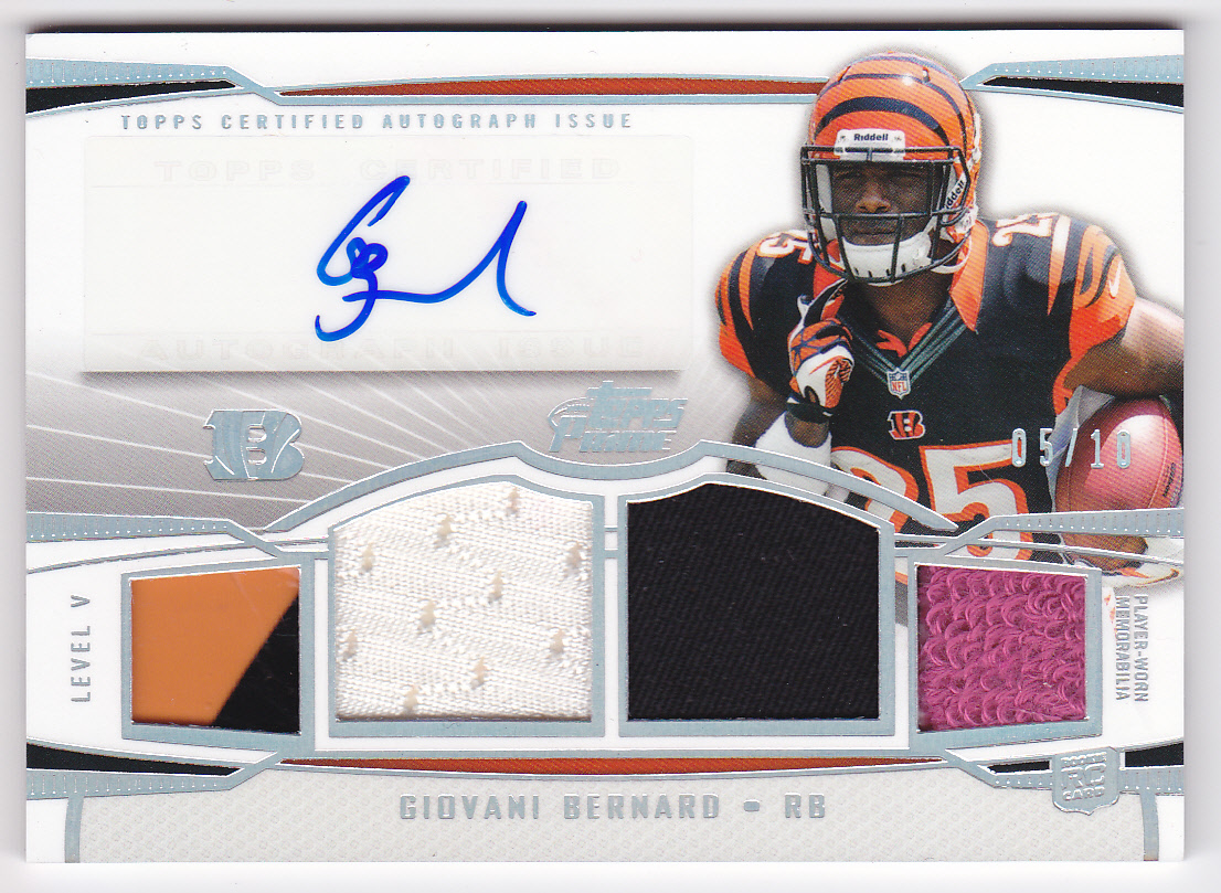 2013 Topps Prime Autographed Relics Level 5 Silver Rainbow #PVGB Giovani Bernard
