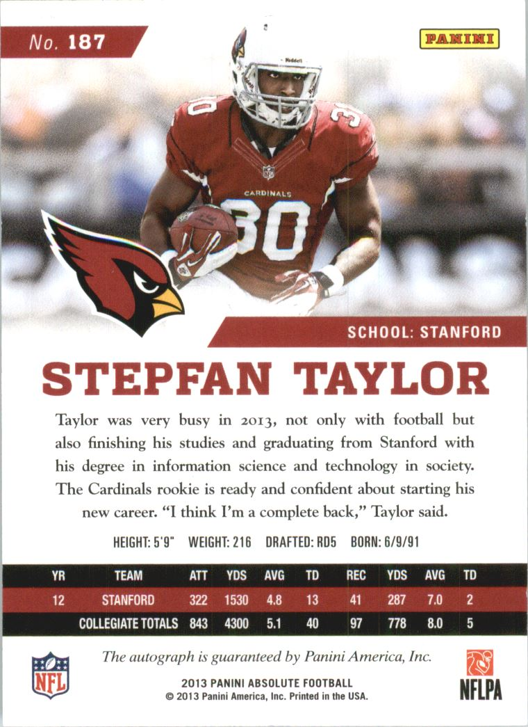 2013 Absolute Spectrum Silver Autographs #187 Stepfan Taylor/99 back image