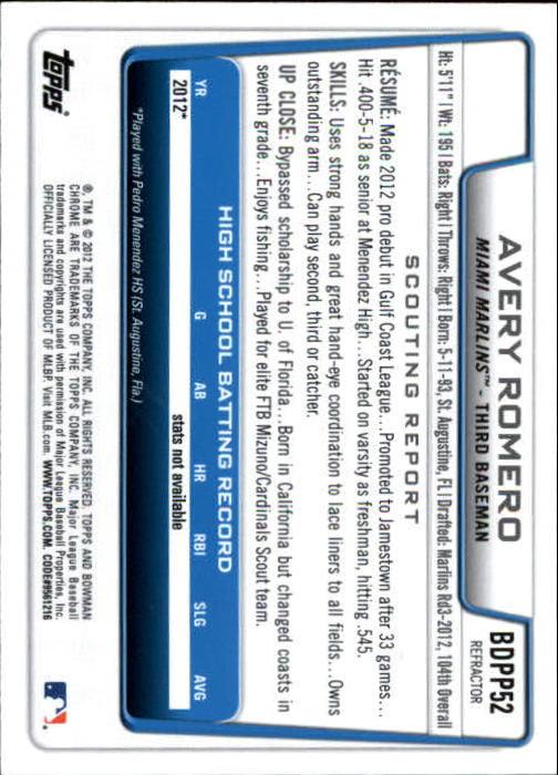 2012 Bowman Chrome Draft Draft Picks Blue Wave Refractors #BDPP52 Avery Romero back image