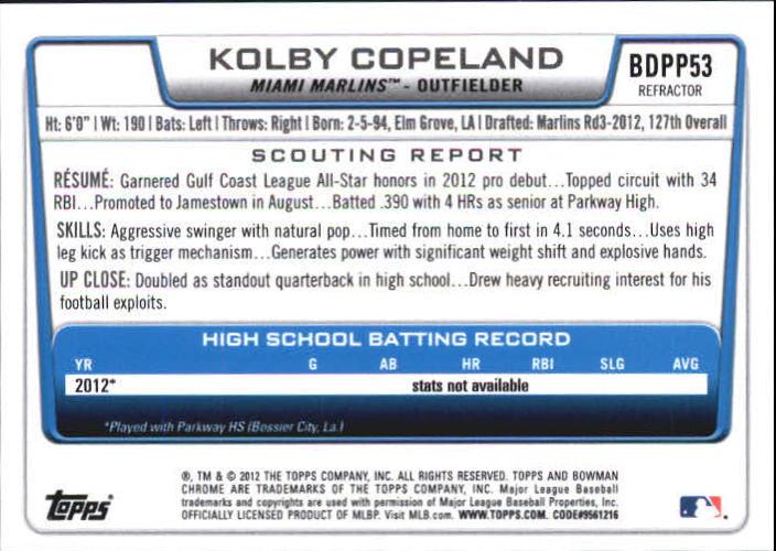 2012 Bowman Chrome Draft Draft Picks Blue Wave Refractors #BDPP53 Kolby Copeland back image