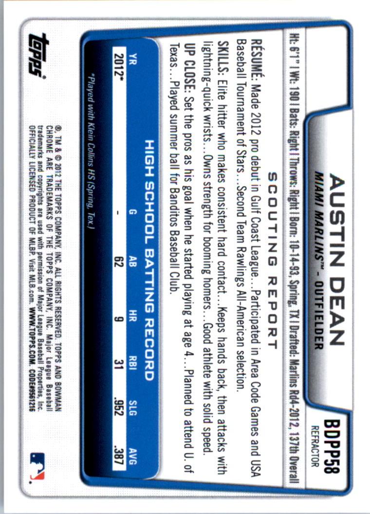 2012 Bowman Chrome Draft Draft Picks Blue Wave Refractors #BDPP58 Austin Dean back image